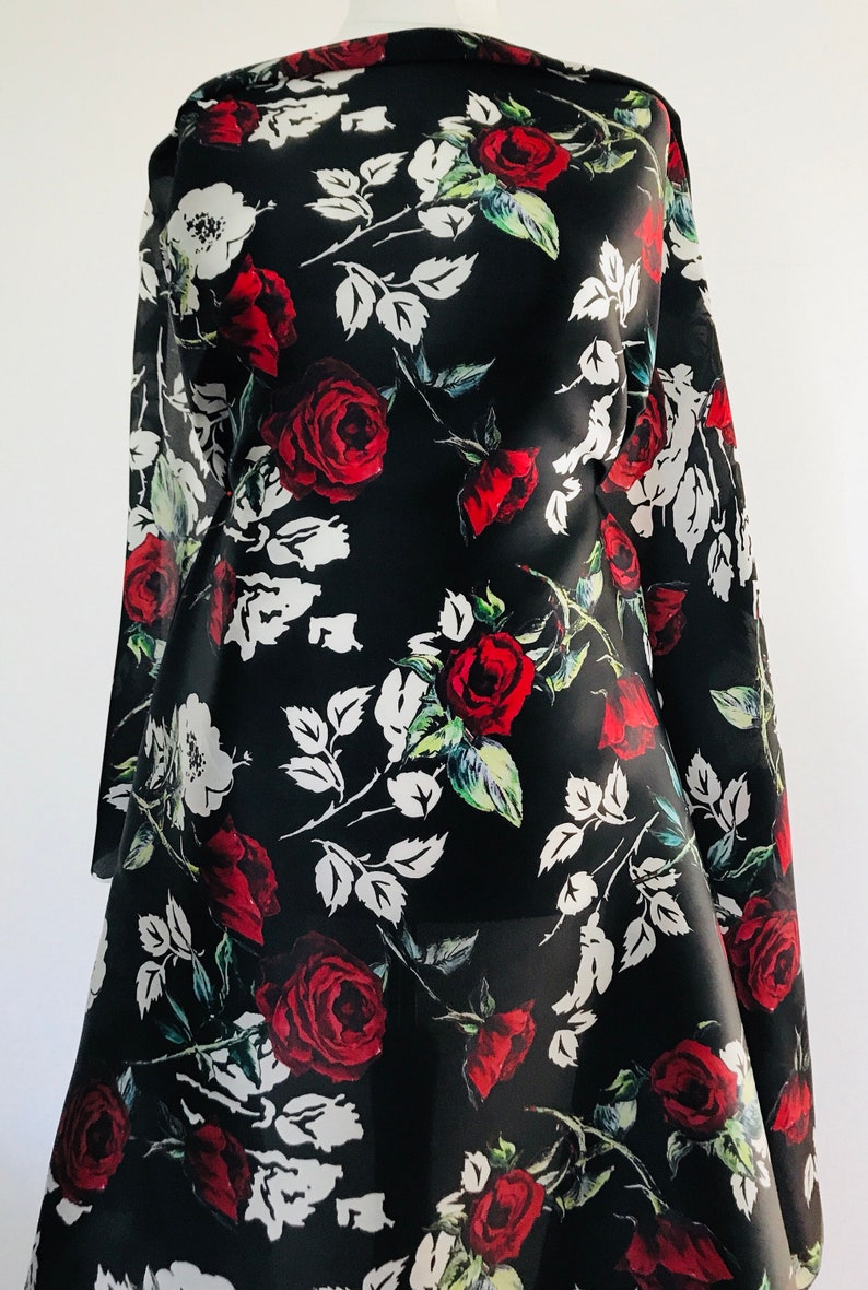 b3f03b8371df Organza Fabric Floral Silk Red and White Roses on Black | Etsy