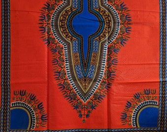 Orange and Blue Dashiki fabric, Ankara fabric, African Wax Print, African Ankara, Angelina Fabric, African Material, sold per yard