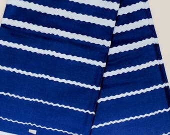 Blue and White Ankara, Stripes fabric, African Wax Cotton fabric, African Wax Print, African Print, African Ankara, sold by the yard