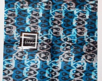African print fabric, Batik, African Wax Print, Blue tribal mask, African Ankara, African Material, sold by the yard