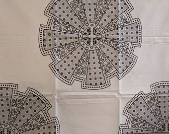 Black and White Ankara fabric, African Wax Cotton fabric, Monochrome fabric, African Print, African Ankara, Roulette Wheel, sold by the yard