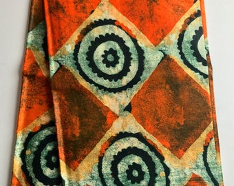 African print fabric, Orange Batik, African Wax Print, Tribal print, African Ankara, African Material, sold by the yard