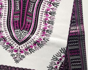 Purple and White Dashiki fabric, Ankara fabric, African Wax Print, African Ankara, Angelina Fabric, African Material, sold per yard
