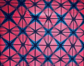 Ankara fabric, African Wax Print, Pink African Ankara, African Material, geometric motif, sold by the yard