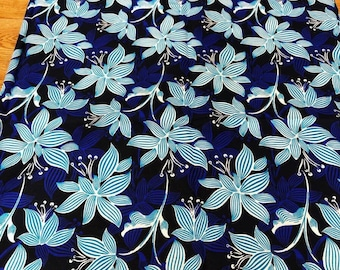 Blue Floral Wax Cotton, African Wax Print fabric, Floral Cotton Fabric, African Print, African Ankara, sold by the yard