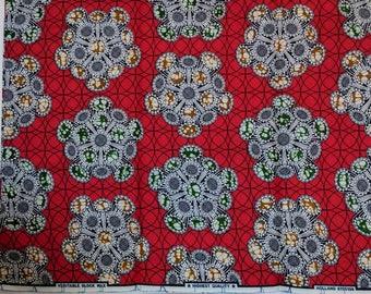 Red Ankara fabric, African Wax Cotton fabric, Multicoloured African Wax Print, African Print, African Ankara, sold by the yard
