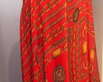 Red Chiffon with gold chain pattern, fabric by the yard, Designer Print Chiffon, Digital Print, wedding dress fabric