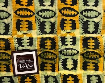 African print fabric, Batik, African Wax Print, Yellow black seed batik, Tribal African Ankara, African Material, sold by the yard