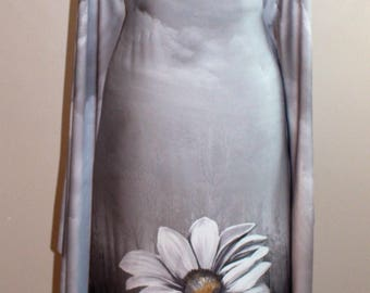 Silk Satin fabric by the yard, Silver and Pewter floral fabric, designer print silk satin, Fashion fabric, dress fabric,