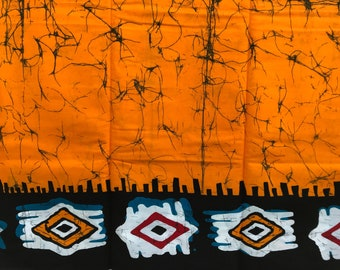 Orange Graffiti Wax Cotton, Antique Wax Print fabric, Batik Wax Print, African Ankara, sold by the yard