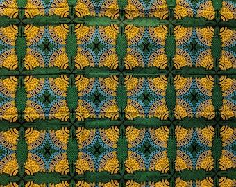 Green and yellow Ankara fabric, African Wax Cotton fabric, African Wax Print, African Print, African Ankara, sold by the yard