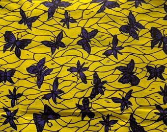 Yellow and Purple Ankara fabric, African Wax Cotton fabric, African Wax Print, Butterfly fabric, African Ankara, sold by the yard