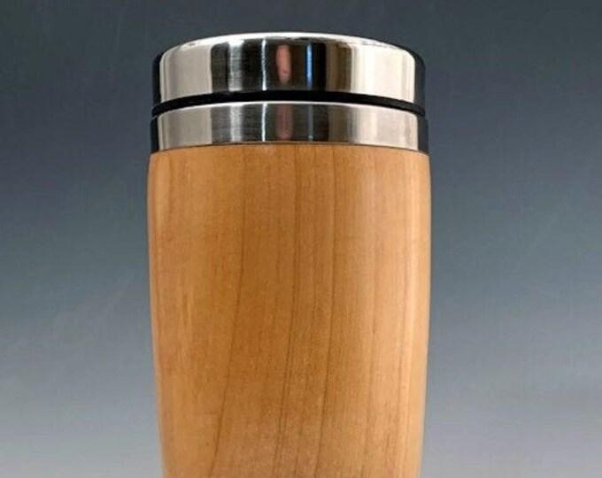 Wood turned Silver Maple Travel Mug  - Hot or Cold Drink Tumbler - Coffee or Tea Mug