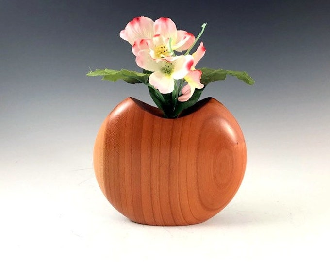 Handmade Decorative Cherry Wood Disc Vase - Handcradted