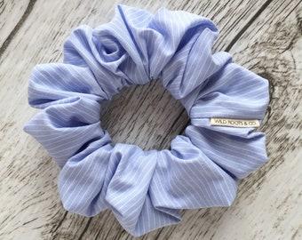Scrunchie, hair tie, bridesmaid gift, summer accessory, elastic, hair accessories, blue hamptons, stripes, neutral, soft, hair, hair jewelry