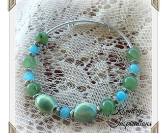 Shades of Greens, Blues and Silver Beaded Bangle Wire Wrap Bracelet, Trendy Teen Everyday Bracelet(Ready to Ship)