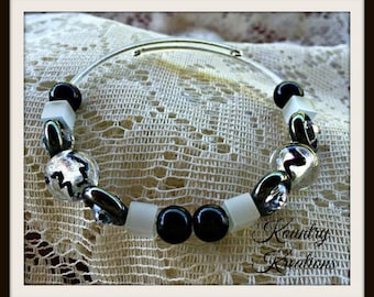Shades of Black and Silver Beaded Bangle Wire Wrap Bracelet, Trendy Teen Everyday Bracelet(Ready to Ship)
