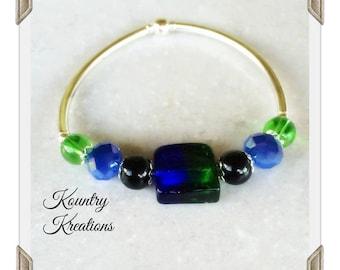 Stretchable Bangles Bracelets, Bracelet,Green/Blue Stone with Green, Blue/Black beads  Silver Stretchable Bangle Bracelet(Ready to Ship)