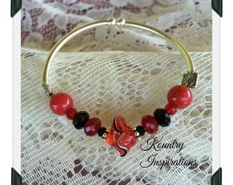 Stretchable Bangles Bracelets, Stretchable Bracelet, Red and Black Silver Stretchable Bangle Bracelet(Ready to Ship)