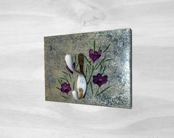 Blue Coat Rack Wall Mounted with Purple Crocus Hand Painted