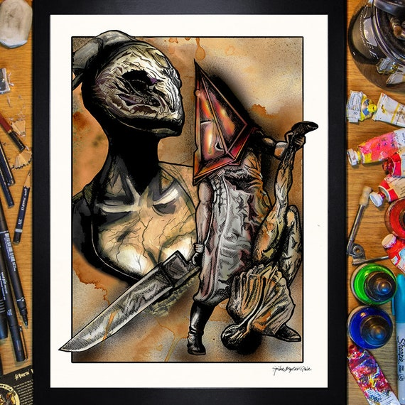 Silent Hill 2 Pyramid Head And Nurse 30x40 Poster T Shirt Etsy