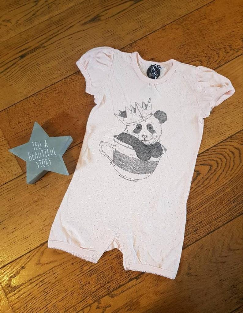 pretty cup panda pink Baby elegant scallop edge short teacup ribbed romper bodysuit crown girl patterned handmade