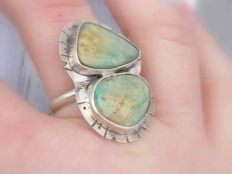 Green gemstone ring Sterling Elise turquoise ring Silver turquoise ring Statement ring Multistone ring Turquoise ring Two stone ring