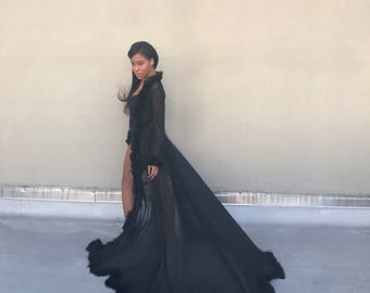 0dbcb383421c Dressing Gown with Marabou Trim - Black