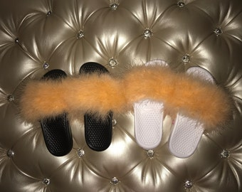 56eed51a910a3 Popular items for fur nike slides