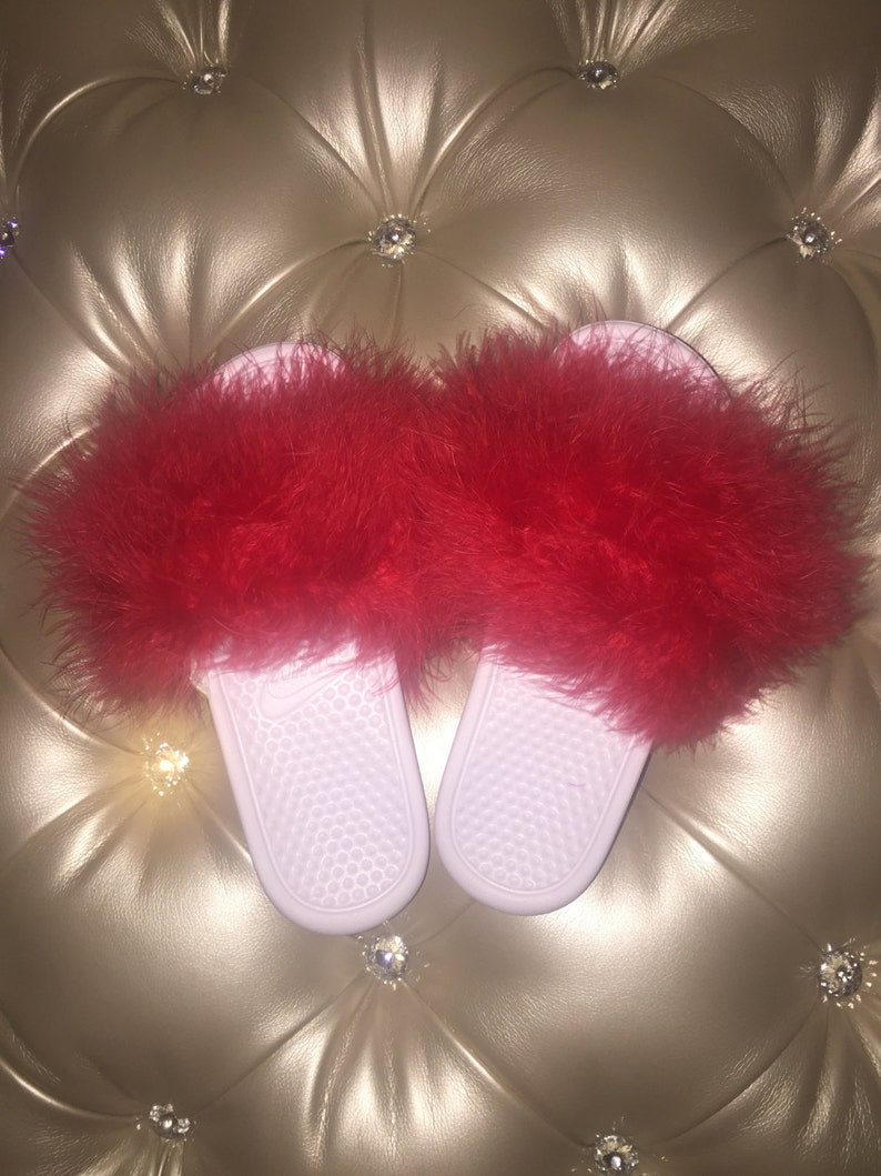 38b8098c0 Fluffy Nike Slides Red Hot candy cane