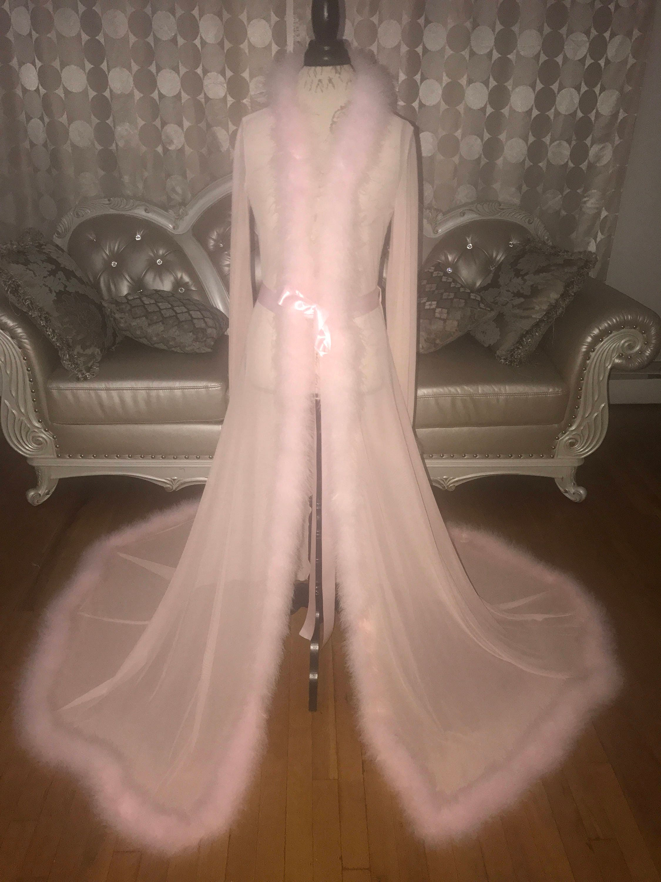 Blush Pink Dressing Gown with Marabou Trim