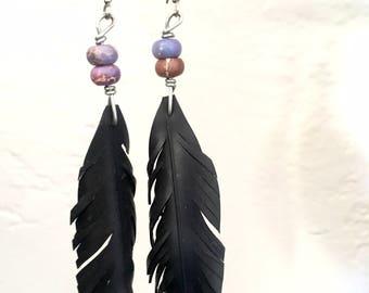 Inner tube feather earrings-bike jewelry-bike tube jewelry-feather earrings-recycled earrings-bike art