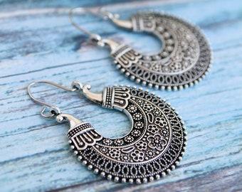 50d4a9e09 Aztec viking earrings - Boho tribal earrings - Tibetan hoop earrings -  gypsy henna jewelry