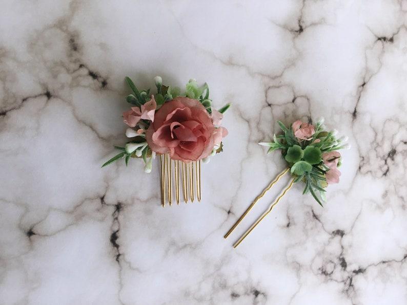 Rustic wedding hair comb Blush flower hair comb Succulent hair pin whimsical bride