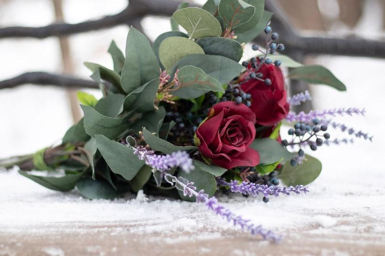 silk flower bouquet free priorty shipping Burgundy eucalyptus bridal bouquet greenery wedding bouquet