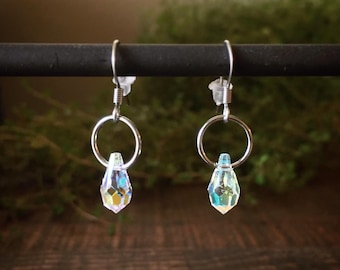 Rainbow Rain Drop Earrings in stainless steel, perfect for sensitive skin. Authentic Swarovski crystals. Super sparkly!