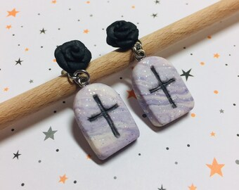 Pastel Goth Tombstones and Black Roses Earrings!