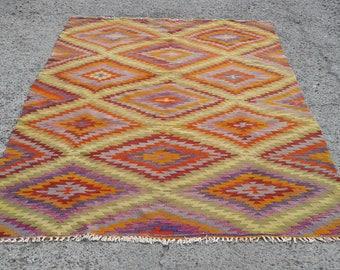"Diamond design Red Green Large Kilim Rug, Anatolian Turkish Vintage carpets 5'9""x 9'9"", Kelim Teppich,"