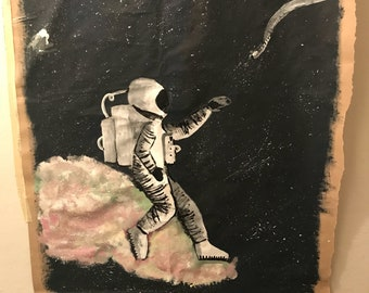 Lonely Astronaut Hand-painted Poster