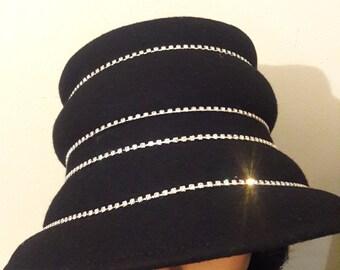 a653f6f479d15 Black small brim rhinestone women church hat fancy wool cloche rhinestone  trim mother s birthday Easter Christmas gift funeral