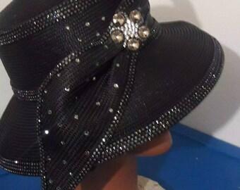 89fcba2e903d0 Black rhinestone small brim fancy women church hat black diamond rhinestone  trim brooch birthday mother Christmas Easter derby funeral