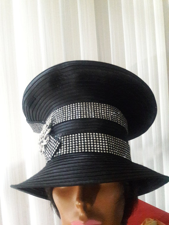 Black church hat fancy year round silver metallic trim silver brooch birthday mothers day Christmas gift Easter garden derby party funeral