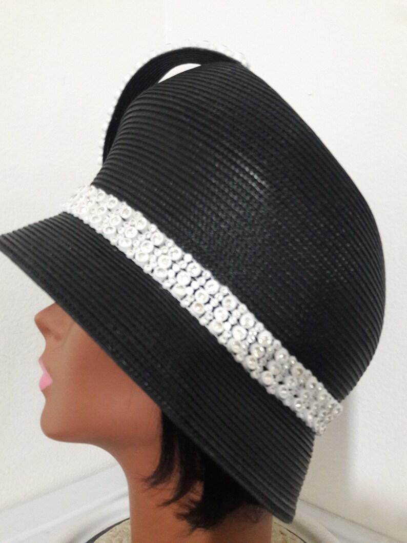 09a1a7013f3da Black small brim women church hat fancy cloche white