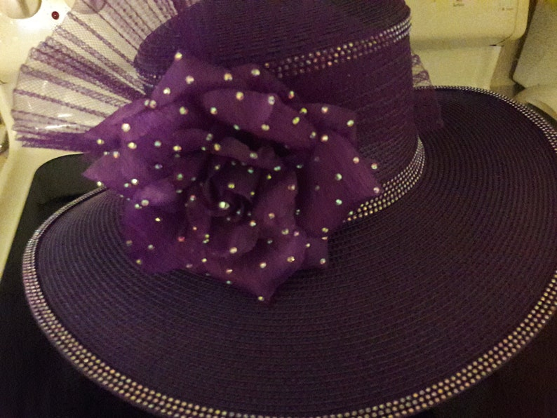 c2727a188 Purple church hat wide brim fancy women rhinestone trim flower pleated  crinoline garden tea derby party mother birthday wedding gift