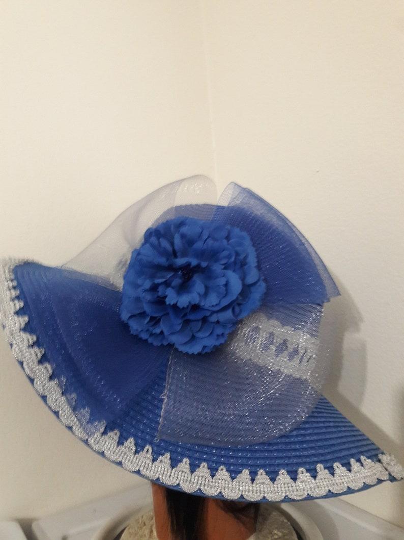 Blue wide brim sun hat silver trim crinoline flower derby birthday garden tea party summer fancy beach fancy royal blue floppy sun hat