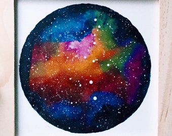 Cosmic watercolor, In the middle of the Galaxy | Original painting