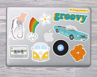 4d007ee895c Groovy Retro Sticker Pack - Perfect for Yeti/Hydroflask Water Bottles,  Phone/Computer Cases, and More