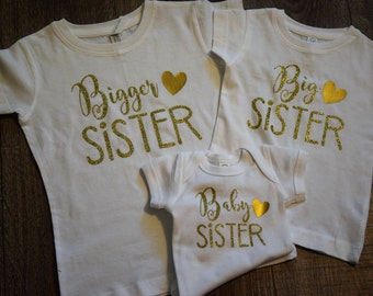 Bigger, Big, and Baby Sister Matching Shirts