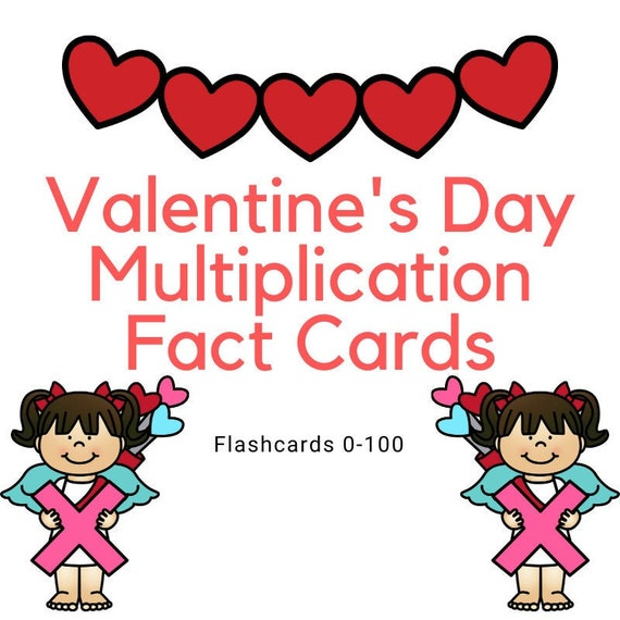 Valentine's Day Multiplication Fact Cards  Multiplication