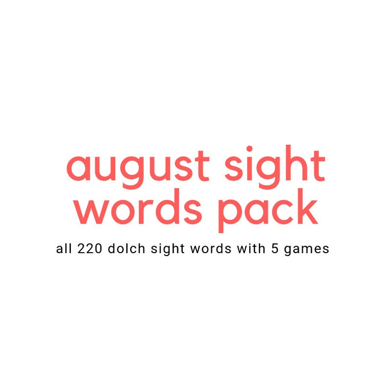 August - Back to School Theme Sight Words Dolch PrePrimer through 3rd Grade